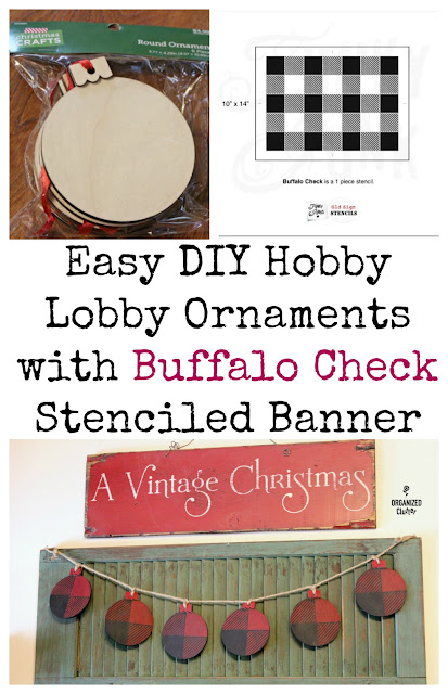 Hobby Lobby DIY Craft Ornament Buffalo Check Banner #oldsignstencils #buffalocheck #Christmasbanner #stencil