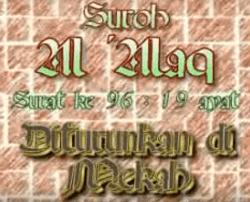 surat Makkiyah dan merupakan Surat yang  Surah Al Alaq Arab, Latin dan Artinya
