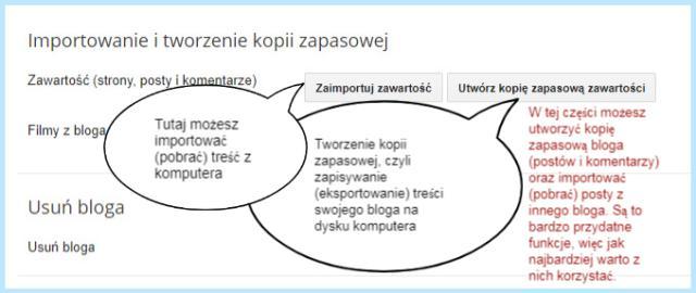 Importowanie i tworzenie kopii zapasowej na Bloggerze.