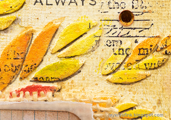 Layers of ink - Tumbling Leaves Canvas Tutorial by Anna-Karin Evaldsson. Acrylic paint leaves.