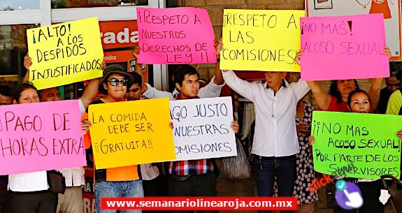 Decenas de trabajadores se manifestaron hoy para exigir sus derechos laborales