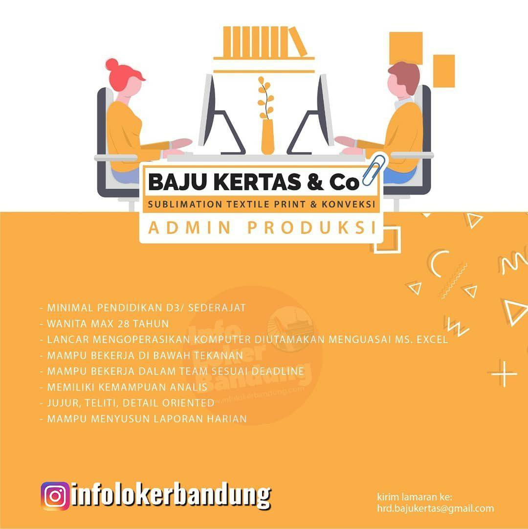 Lowongan Kerja Admin Produksi Baju Kerta & Co Bandung Agustus 2019