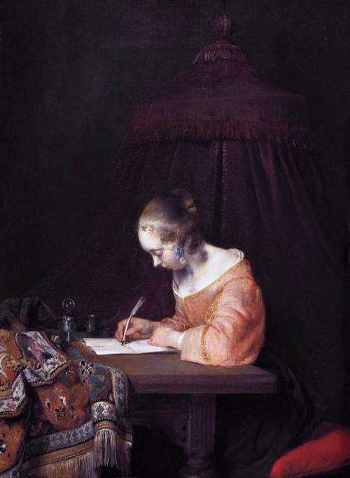 Mulher Escrevendo uma Carta, pintura de Gerard Ter Borch. #PraCegoVer