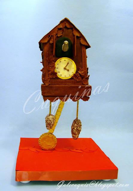 Tarta Reloj de cuco con estructura (sostenida sobre péndulo)