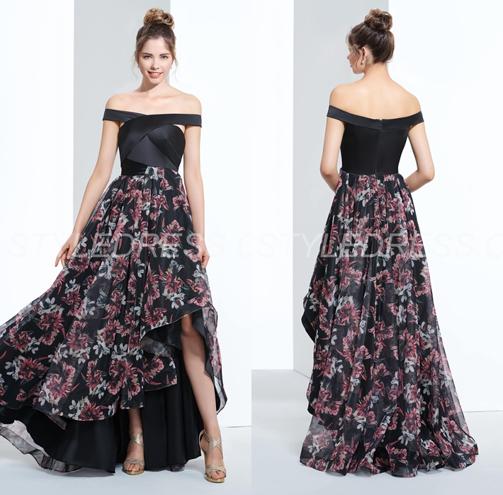 Summer Asymmetry Evening Sweep/Brush Prom Celebrity Zipper-up Off-the-Shoulder Dress