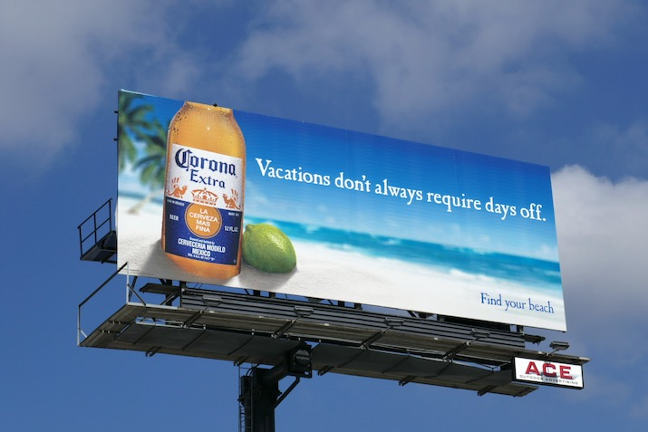 Vacations dont always require days off Corona billboard