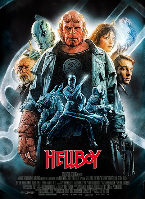 Movie poster for Columbia Pictures's 2004 fantasy adventure film Hellboy, starring Ron Perlman, Selma Blair, John Hurt, Rupert Evans, Karel Roden, and Jeffrey Tambor