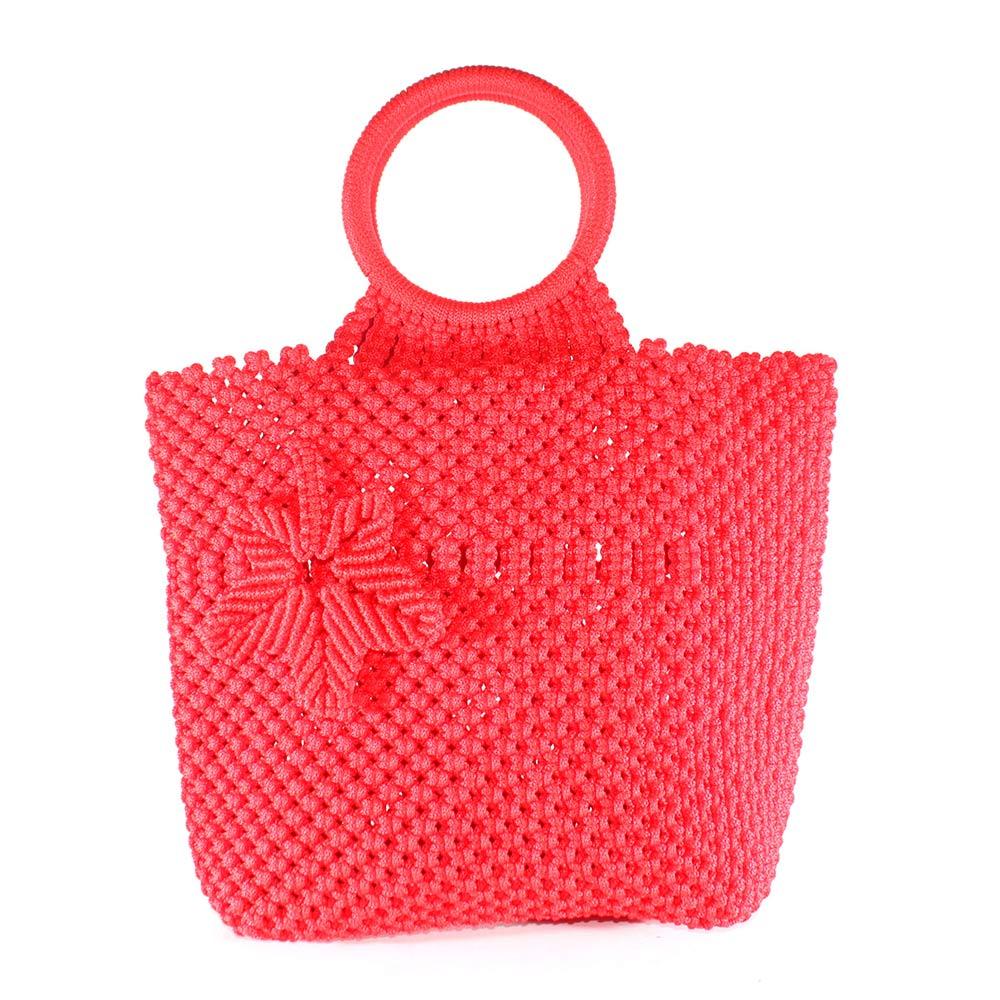 Tas Macrame (Tali Kur) Merah Handle Bulat
