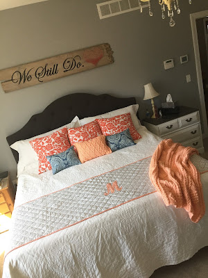 #millsnewhouse, master bedroom, wall art, painted sign, string art, pillows, bed design