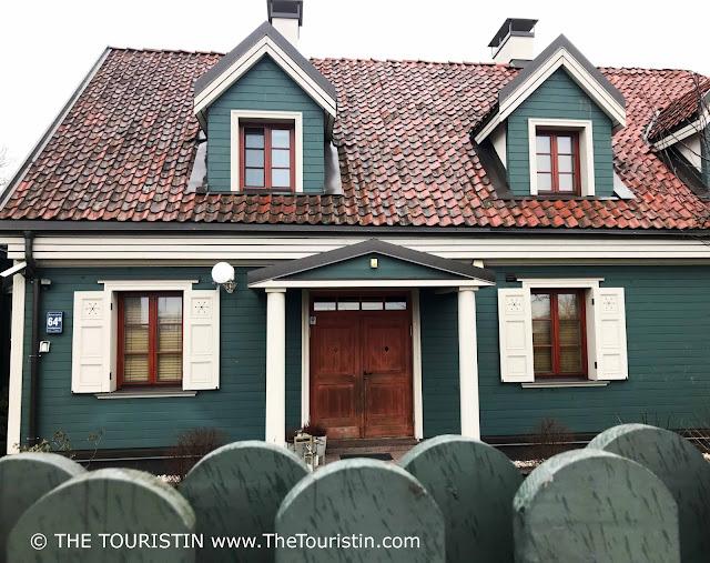 Kipsala -wooden architecture. Riga Latvia. The Touristin