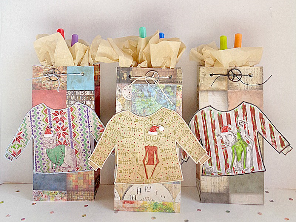 DIY: Tim Holtz Inspired Ugly Christmas Sweater Gift Bags