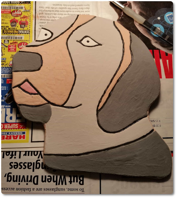 Dog head hanging wall art made from clay