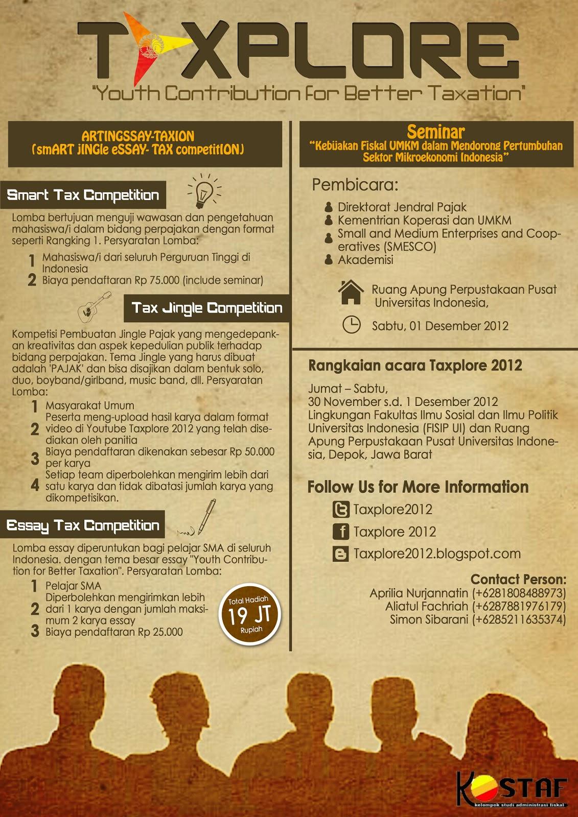 Contoh Essay Tax Essay Competition Taxplore 2012 Download Gambar
