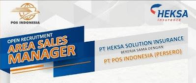 Lowongan kerja PT Heksa Solution Insurance Bekerja Sama Dengan PT Pos Indonesia (Persero) Membutuhkan Area Sales Manager Untuk Wilayah : Brebes, Pati, Cilacap, Pekalongan, Kebumen Kendal, Purwokerto, Tegal, Klaten, Jepara Solo, Salatiga, Magelang