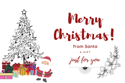 Santa image with tree & gifts written just for you from Santa.