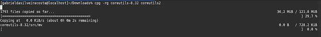 Comando cp após compilado com o patch advcpmv e testado com a opção -g