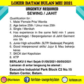 Lowongan Kerja Sewing/Jahit di Batam (Ditutup 5 Mei 2021)