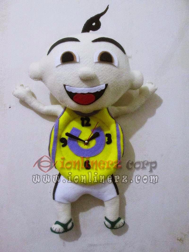 Jam Dinding Flanel Karakter Kartun Boneka Upin Ipin