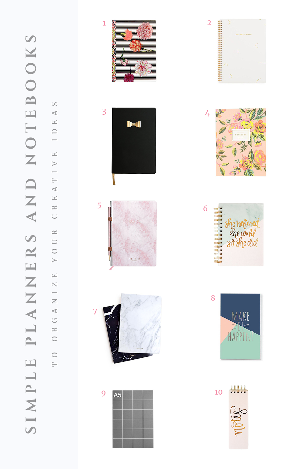Simple planners, notebooks and journals to organize your creative ideas. #planneraddict