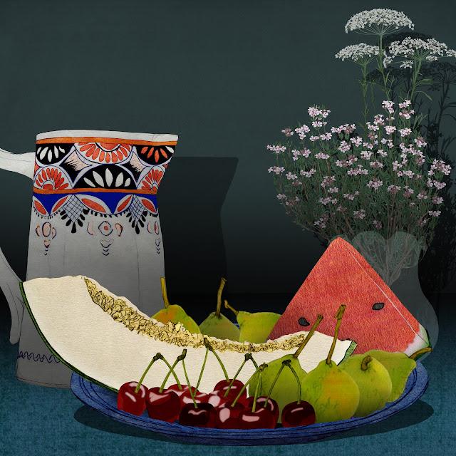 cerezas, melon y peras, en el plato, dibujo