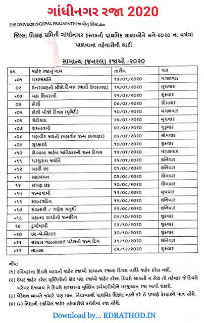 Gandhinagar Holiday list for 2020