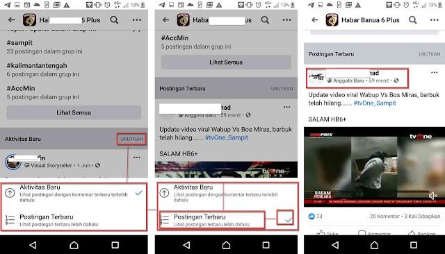 cara mengurutkan postingan facebook mudah