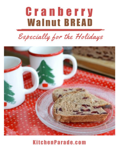 Cranberry Walnut Bread ♥ KitchenParade.com, special for the holidays, a barely sweet yeast bread studded with dried cranberries and toasted walnuts.