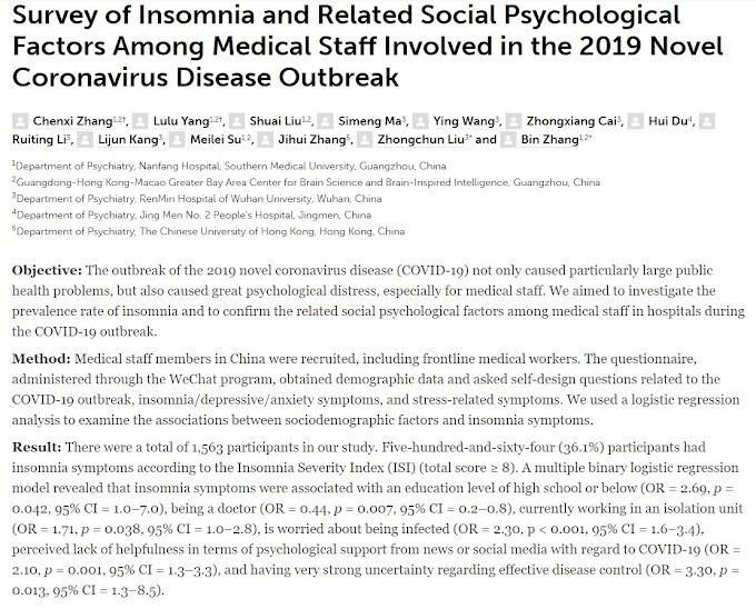 Insomnio y factores psicológicos sociales relacionados en el personal médico involucrado en la lucha contra la Covid-19