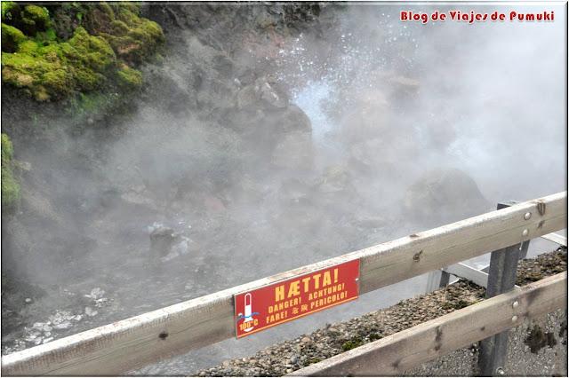 En Deildartunguhver, el mayor manantial de Islandia el agua fluye hirviendo a 100ºC