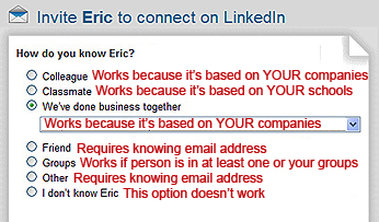 LinkedIn invitation to connect, LinkedIn invitation options, inviting strangers to connect on LinkedIn, ways to invite people to connect on LinkedIn,