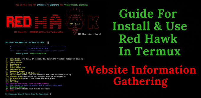 How To Install RED HAWK Tool In Termux. Website Information Gathering Tool.