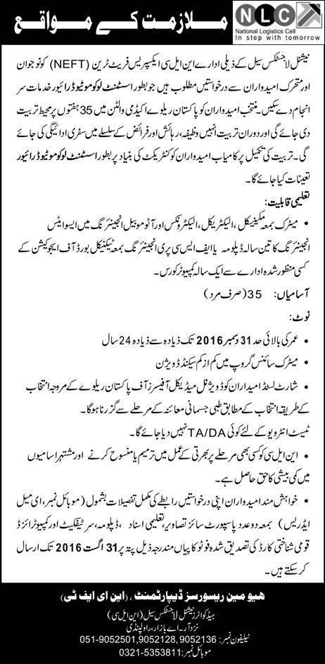 Latest Jobs in Pakistan NLC Jobs 2016