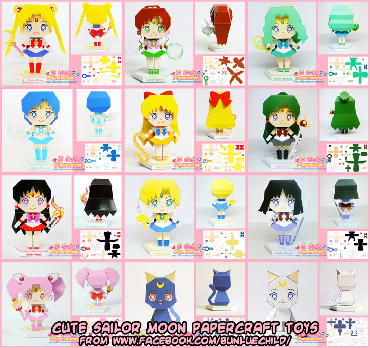 Ninjatoes 39 papercraft weblog cute sailor moon for Cute papercraft templates
