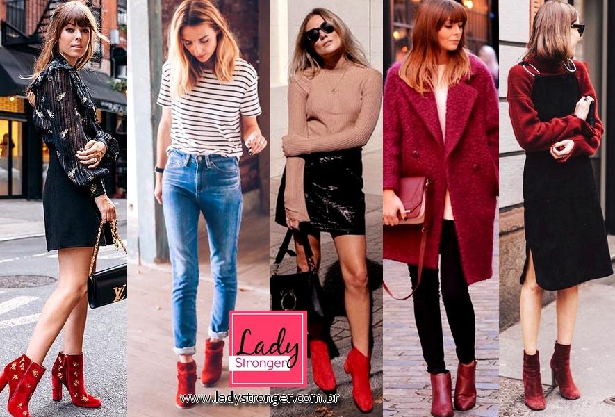 662cdf985 Se tem um par de botas que tem chamado muito atenção das It-girls são as  botas vermelhas. Por ser um calçado bastante chamativo