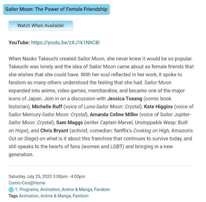 """A description of the panel """"Sailor Moon: The Power of Female Friendship"""": When Naoko Takeuchi created Sailor Moon, she never knew it would be so popular. Takeuchi was lonely and the idea of Sailor Moon came about as female friends that she wishes that she could have. With her soul reflected in her work, it spoke to fandom as many others understood the feeling that she had. Sailor Moon expanded into anime, video games, merchandise, and became one of the major icons of Japan. Join in on a discussion with Jessica Tseang (comic book historian), Michelle Ruff (Voice of Luna-Sailor Moon Crystal), Kate Higgens (voice of Sailor Mercury-Sailor Moon Crystal), Amanda Celine Miller (voice of Sailor Jupiter-Sailor Moon Crystal), Sam Maggs (writer Captain Marvel), and Chris Bryant (activist, comedian) on what it is about this franchise that continues to survive today, and still speaks to the heards of fans (women and LGBT) and bringing in a new generation."""