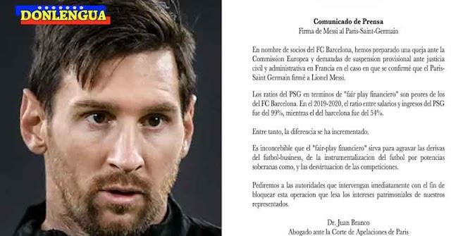 Presentan demanda legal para evitar que Messi pueda firmar contrato con el PSG