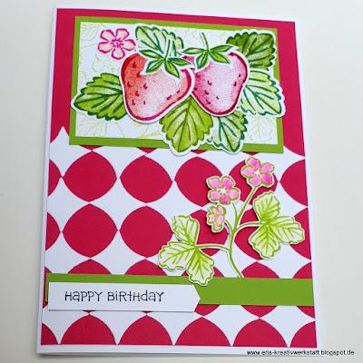 """""""Beerenstarke"""" Grußkarte mit Erdbeere zum Geburtstag Stampin' Up! www.eris-kreativwerkstatt.blogspot.de"""