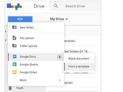 création de fichiers dans google drive