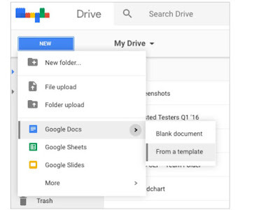 Creating files from templates now easier in Google Drive