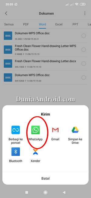 Opsi share file dokumen di WhatsApp