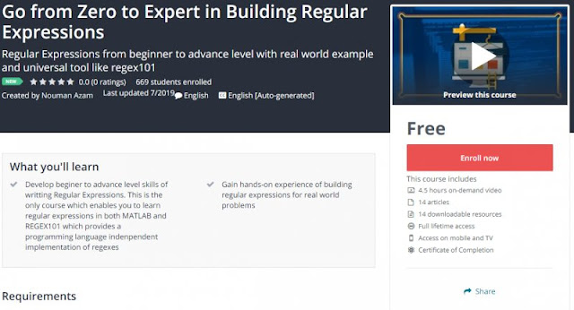 [100% Free] Go from Zero to Expert in Building Regular Expressions