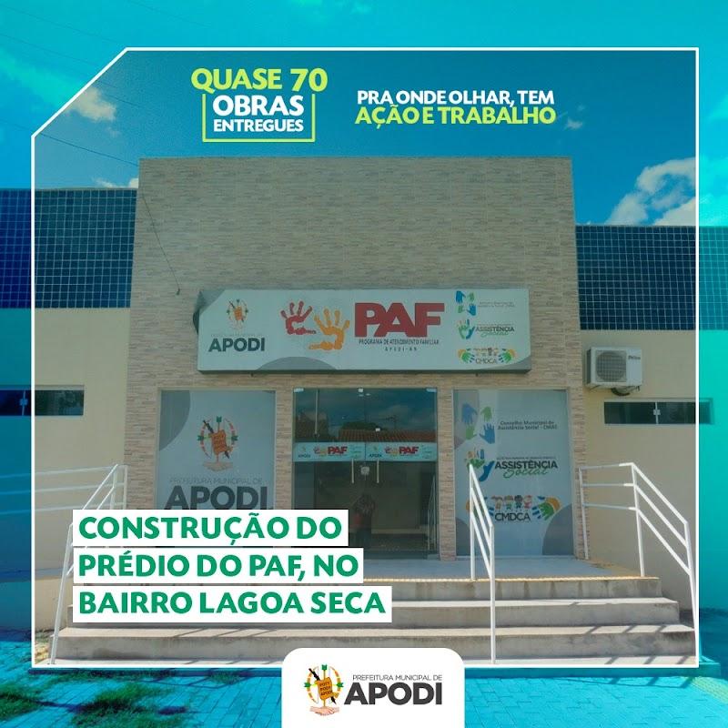 A Prefeitura de Apodi, em parceria com a iniciativa privada, construiu a sede própria do Programa de Atendimento à Família - PAF.