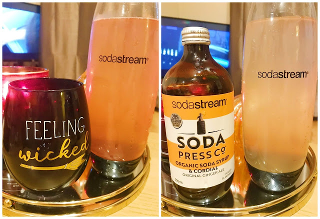 collage - left side is a cup with blackberry lime in and 1l bottle next to it. Right side is ginger ale bottle and 1l bottle