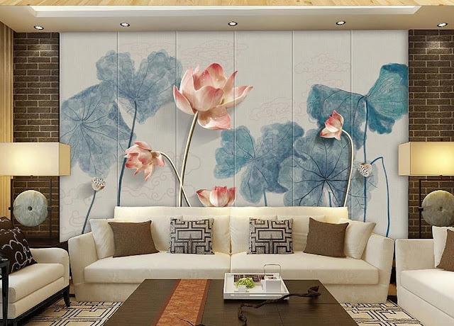 Wallpaper Dinding Ruang Tamu Sempit Motif Bunga Elegan