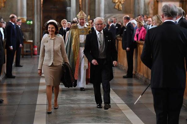 Sweden Royals attend 'Te Deum' service at the Royal Chapel. Sofia Hellqvist, Lina Hellqvist, Sara Hellqvist, Erik Hellqvist, Marie Hellqvist