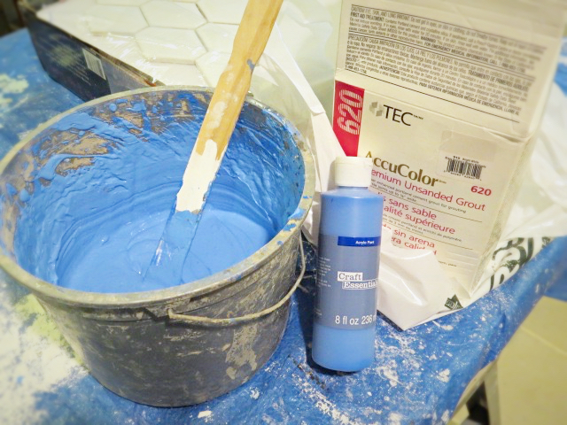 mixing grout and acrylic paint
