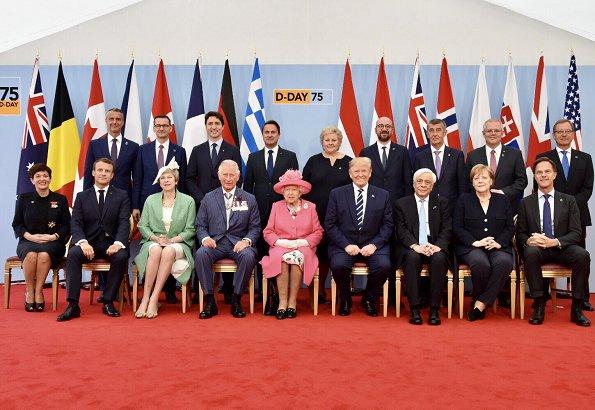 President Donald Trump and First Lady Melania Trump, Theresa May, Justin Trudeau, Xavier Bettel. Meghan Markle