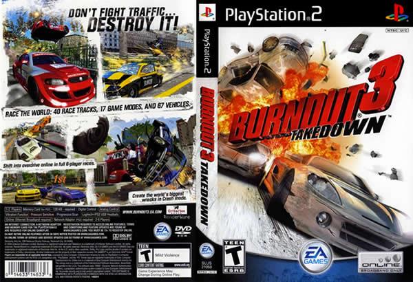 Descargar Burnout 3 - Takedown para PlayStation 2 en formato ISO región NTSC y PAL en Español Multilenguaje Enlace directo sin torrent. Es la tercera entrega de la saga Burnout, y la primera en ser distribuida por EA Games tras el cierre de Acclaim, estando este más cuidado en cuanto a gráficos y sonido. La secuela de este juego es Burnout Revenge. Burnout otorga un garage con 65 automóviles que se desbloquean realizando carreras ilegales en calles que simulan ciudades reales, plagadas de tráfico con el que el jugador puede chocar.