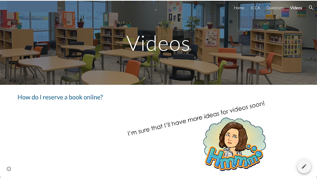 Screenshot with library photo and question about reserving a book online