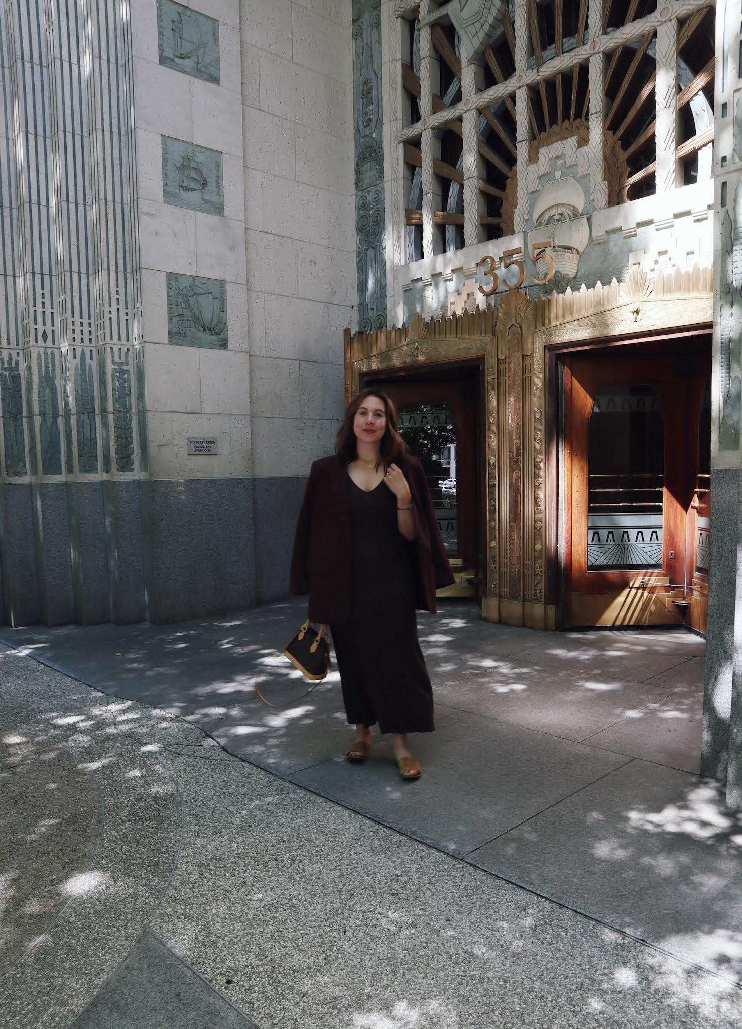 HM Linen Jacket rib knit silk midi dress outfit brown